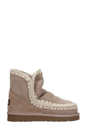 Mou Low Heels Ankle Boots In Taupe Suede