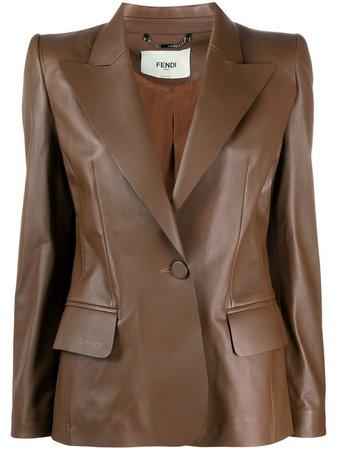 Fendi Single-Breasted Leather Blazer FPJ779NBA Brown | Farfetch