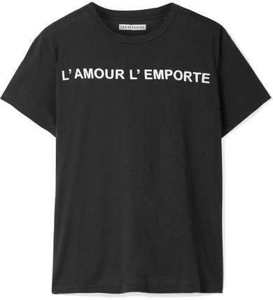 Les Rêveries - Printed Cotton And Cashmere-blend T-shirt - Black