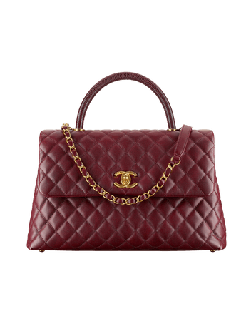 Chanel, Flap Bag with top handle, calfskin, lizard and gold tone metal in burgundy