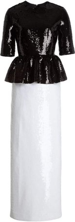 Huishan Zhang Jewel Two-Tone Sequined Maxi Dress