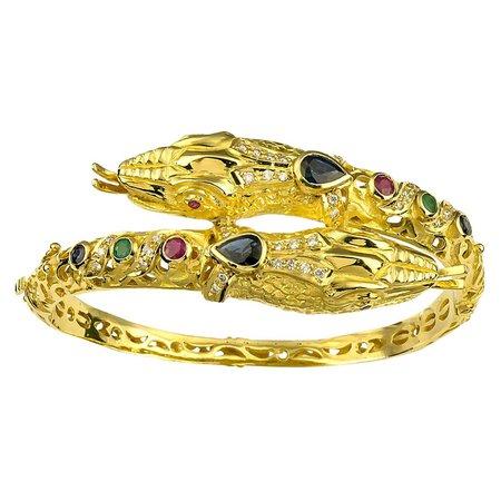 Georgios Collections 18 Karat Gold Diamond Ruby Emerald Sapphire Snake Bracelet For Sale at 1stDibs