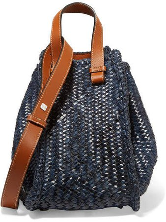 Hammock Small Woven Leather Tote - Navy