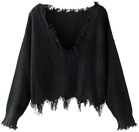 ZAFUL Women's Solid V Neck Loose Sweater Long Sleeve Ripped Jumper Pullover Knitted Crop Top Black at Amazon Women's Clothing store