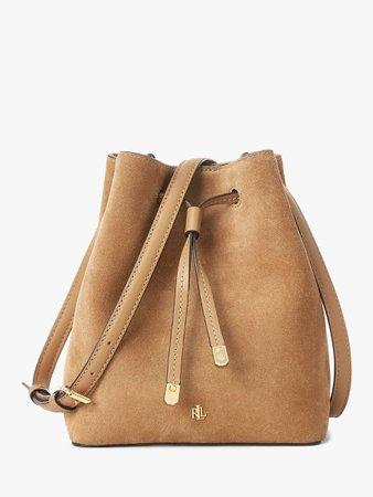 Lauren Ralph Lauren Dryden Debby Suede Bucket Bag, Cappuccino at John Lewis & Partners