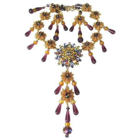 Designer Signed Stanley Hagler Purple and Yellow Crystal Necklace and Earrings