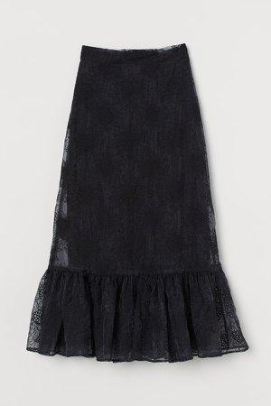 Embroidered Organza Skirt - Black