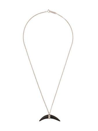 Isabel Marant horn pendant necklace silver & black CO029319H004B - Farfetch