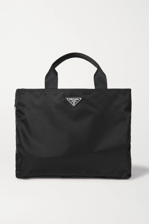 Black Vela textured leather-trimmed nylon tote | Prada | NET-A-PORTER