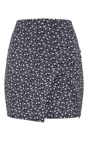 Multi Floral Print Rib Split Mini Skirt | PrettyLittleThing USA