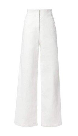Washed Twill Wide-Leg Jean