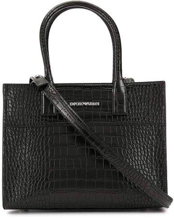 crocodile embossed shoulder bag