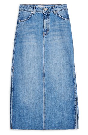 Topshop Split Denim Midi Skirt | Nordstrom