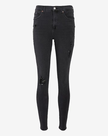 High Waisted 4-Way Hyper Stretch Black Ripped Skinny Jeans