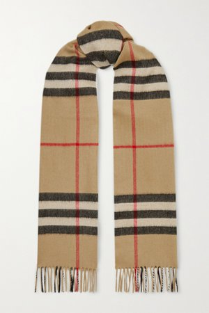 Brown Fringed checked cashmere scarf | Burberry | NET-A-PORTER
