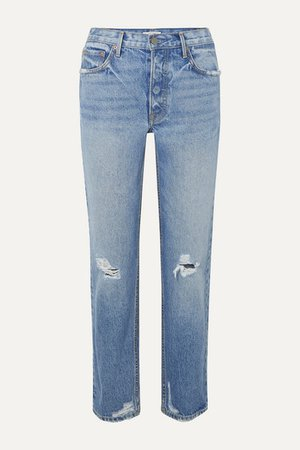 GRLFRND | Helena distressed mid-rise straight-leg jeans | NET-A-PORTER.COM