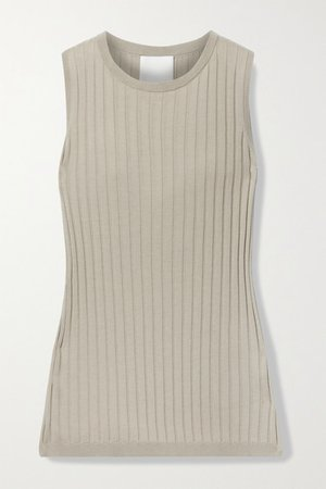 Ribbed Cotton And Silk-blend Tank - Beige