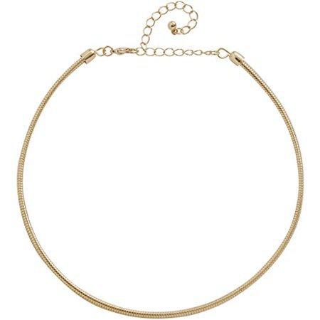 Humble Chic Women's Snake Chain Choker - Gold-Tone Omega Ribbed Statement Collar Bib Necklace, Gold - Walmart.com