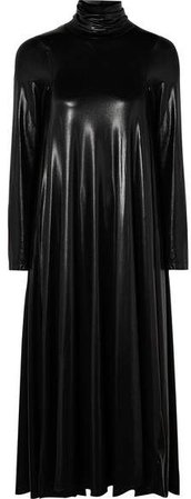 Draped Coated Stretch-jersey Turtleneck Midi Dress - Black