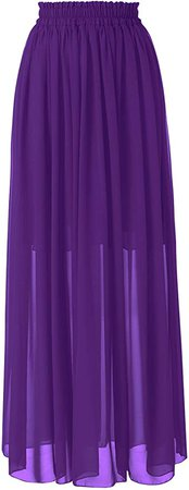 Topdress Women's Floor Length Beach Skirt Floral Print Chiffon Maxi Skirts Purple XL at Amazon Women's Clothing store