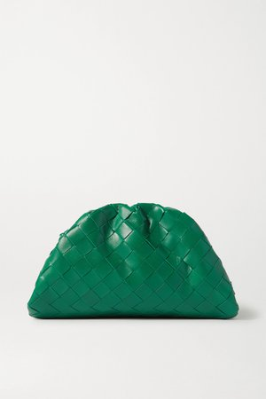 Green The Pouch small gathered intrecciato leather clutch | Bottega Veneta | NET-A-PORTER
