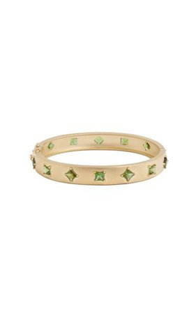 18k Yellow Gold Princess Cut Green Tourmaline Bracelet By Jamie Wolf | Moda Operandi