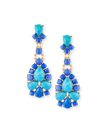 Sequin Turquoise & Agate Statement Earrings | Neiman Marcus