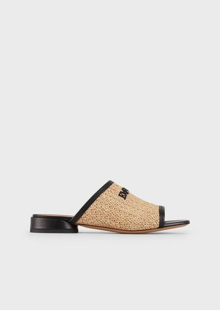 Woven-Straw Sandals With Embroidered Logo
