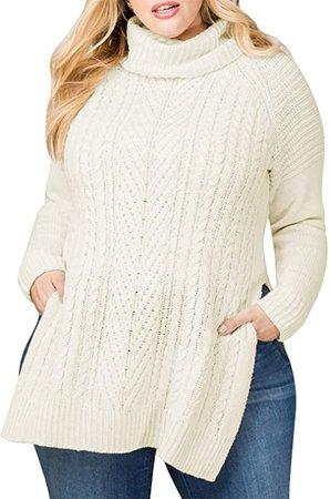 Women Plus Size Turtleneck Irish Cable Knit Aran Sweater at Amazon Women's Clothing store