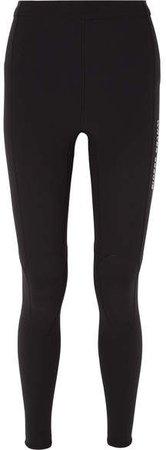 Printed Neoprene Leggings - Black
