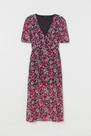 Puff-sleeved Dress - Pink