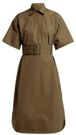 Belted Cotton Poplin Shirtdress - Womens - Khaki