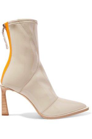 Fendi | Two-tone glossed-neoprene ankle boots | NET-A-PORTER.COM