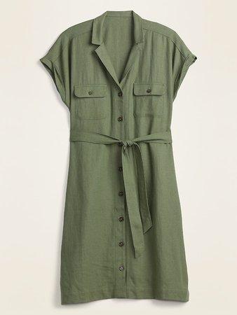Waist-Defined Linen-Blend Tie-Belt Shirt Dress for Women   Old Navy