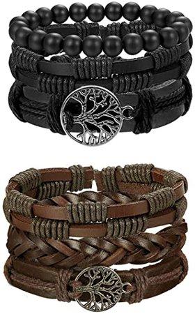 Amazon.com: FIBO STEEL 6 Pcs Leather Bracelet for Men Women Tribal Bracelets Leather Wristbands Adjustable SMS: Clothing