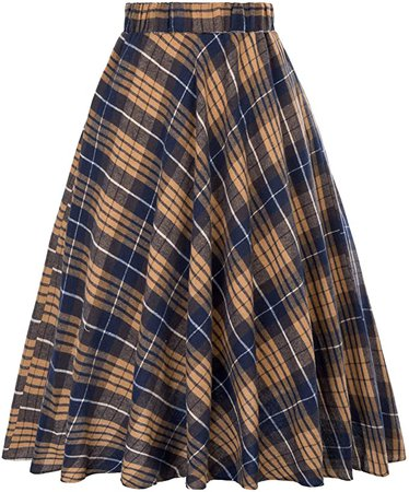 Flared Pleated Plaid A-line Midi Skirt for Winter Size XL KK495-4 at Amazon Women's Clothing store