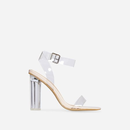Ariana Barely There Perspex Block Clear Heel In Nude Patent | EGO