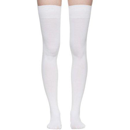 Marieyat White Doodle Thigh-High Socks