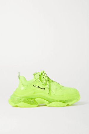 Yellow Triple S Clear Sole logo-embroidered faux leather, foam and mesh sneakers | Balenciaga | NET-A-PORTER