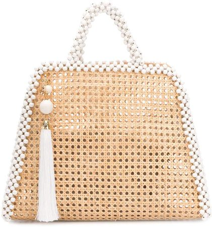 Embellished Straw Tote Bag