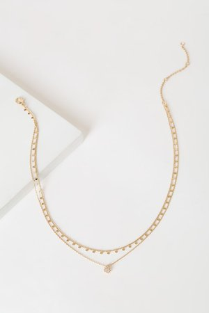 Gold Rhinestone Necklace - Layered Necklace - Dainty Necklace - Lulus