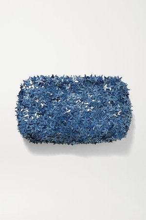 Light blue Ambra embellished tulle clutch | Nannacay | NET-A-PORTER