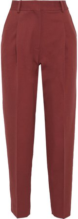 Pleated Twill Tapered Pants