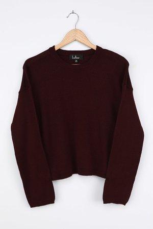 Plum Purple Sweater - Pullover Sweater - Knit Sweater