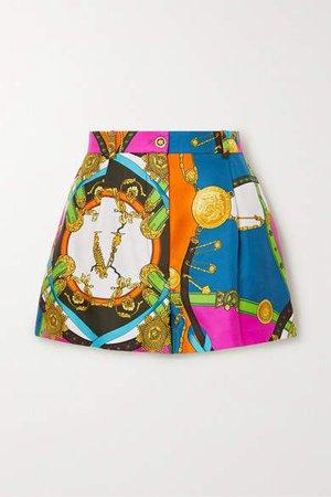 Printed Silk-twill Shorts - Blue