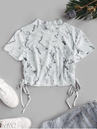 Marble Print Mesh Cinched Crop T-shirt