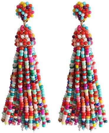 Amazon.com: NLCAC Women's Beaded tassel earrings Long Fringe Drop Earrings Dangle Turquoise: Clothing