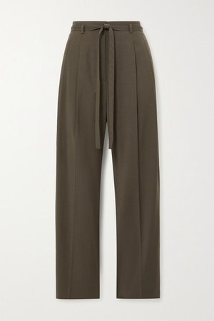 Belted Cady Straight-leg Pants - Army green