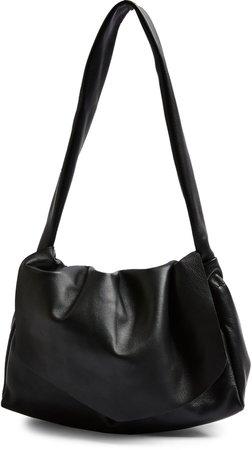 Ruched Leather Flap Shoulder Bag