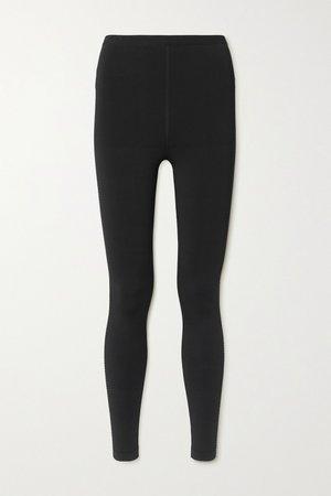 Black Relax mesh-trimmed tech-jersey leggings   Alaïa   NET-A-PORTER